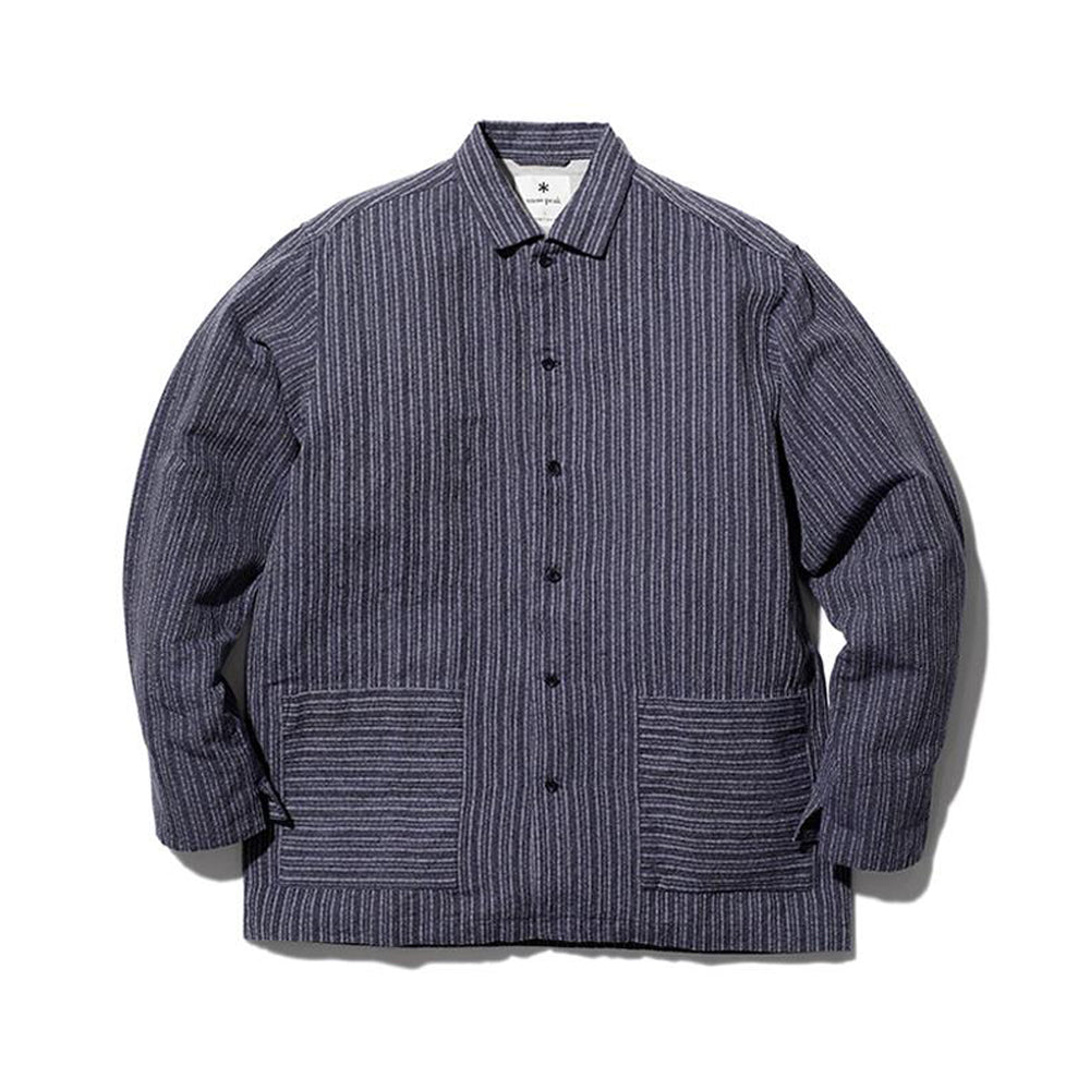 [SNOW PEAK] COTTON LINEN DOBBY STRIPE SHIRT _ NAVY