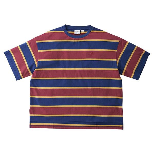 [GRAMICCI] ONE POINT SLIT TEE _ NAVY X WINE