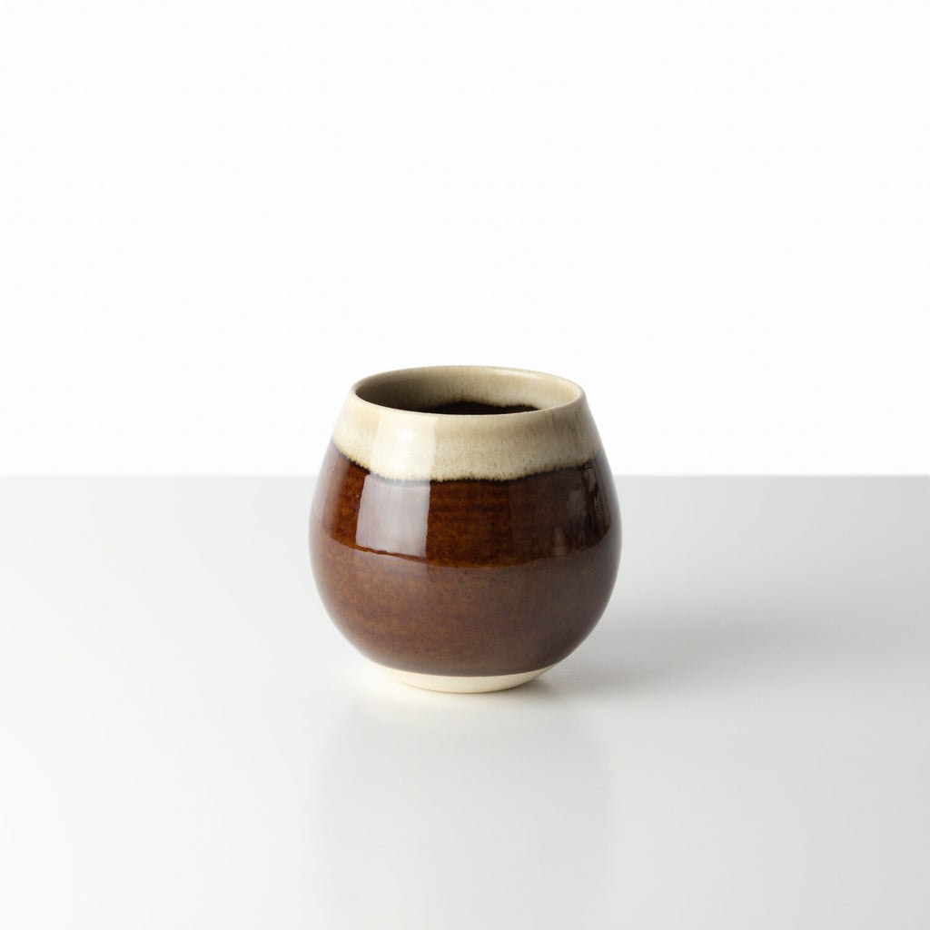 [MADE BY KIHARA] BROWN/WHITE ROUND CUP