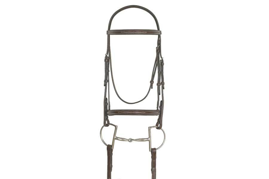 Ovation Elite Collection - Fancy Raised Traditional Crown Padded Bridle with Raised Fancy Laced Reins