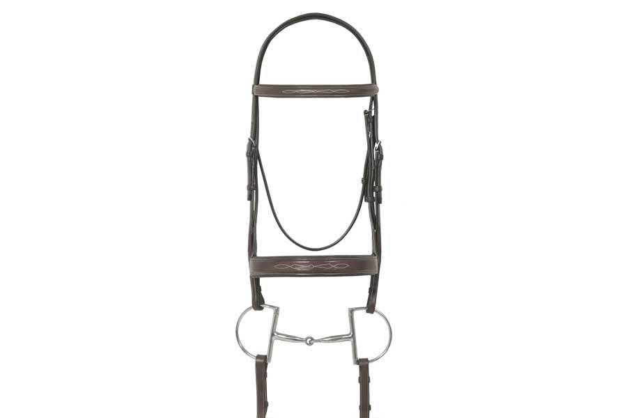 Ovation Elite Collection- Fancy Raised Traditional Crown Flat Wide Nose Padded Bridle with Fancy Raised Lace Reins