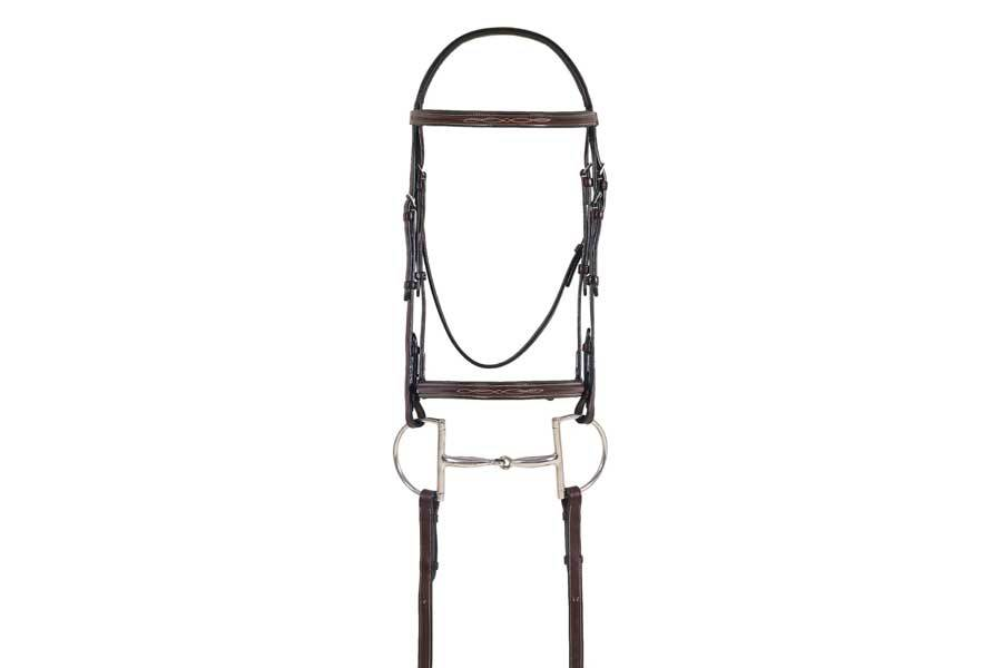 Ovation Elite Collection - Fancy Raised Comfort Crown Padded Bridle with Fancy Raised Laced Reins