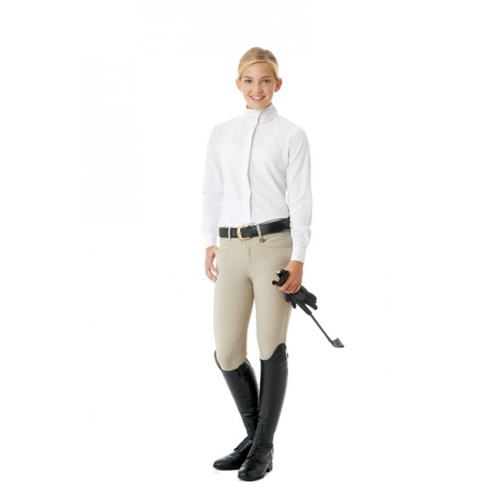 Ovation® Celebrity EuroWeave™ DX Euro Seat Front Zip Knee Patch Breeches - Child's
