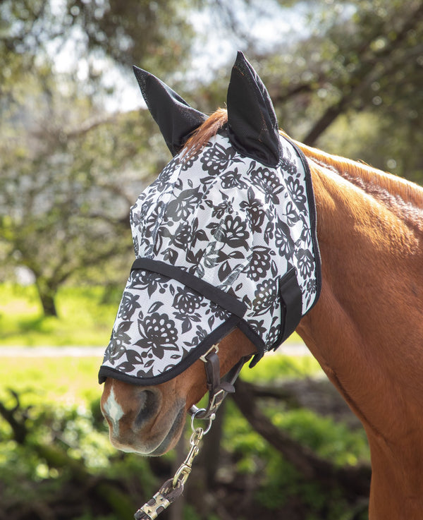 Mackey Dandy Papercut Floral Fly Mask with Ears and Detachable Nose
