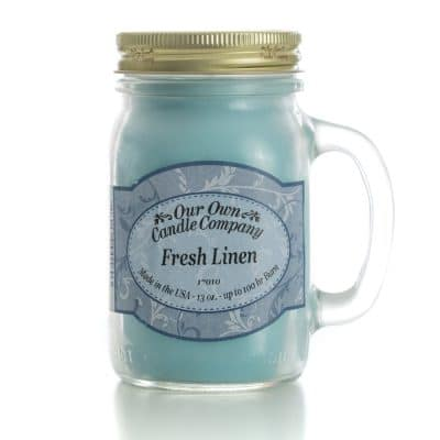 Triple E Mfg. Our Own Candle Company 13oz. Mason Jar Candle- Fresh Linen