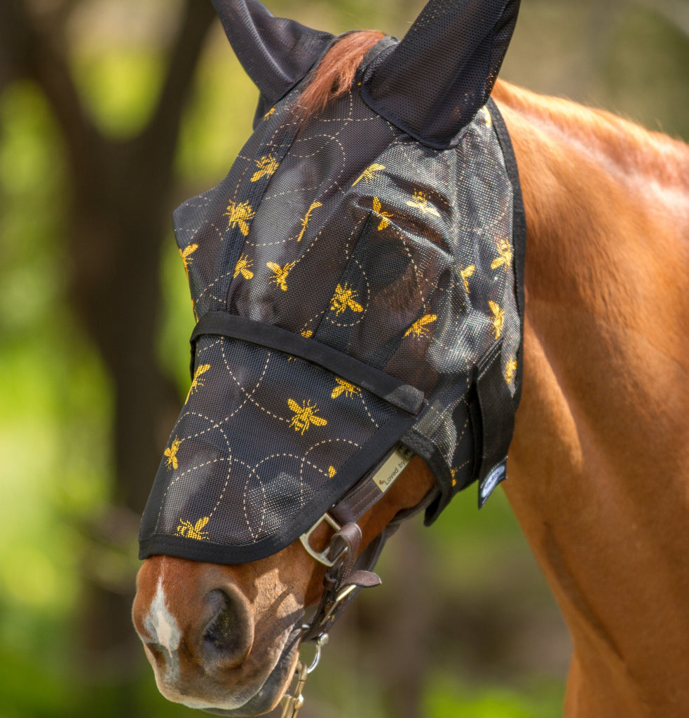 Mackey Bee Mine Fly Mask with Ears and Detachable Nose