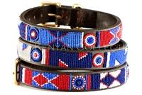 """Red White Blue"" Beaded Dog Collar"