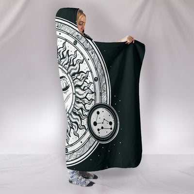 Hand Drawn Sun and Moon Hooded Blanket