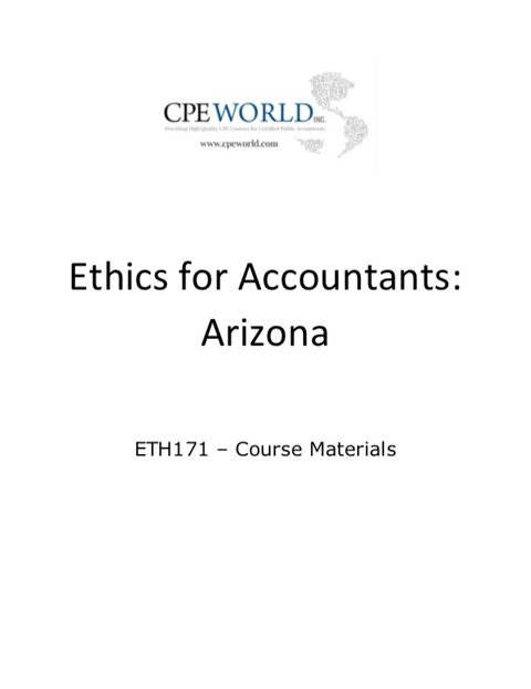 Ethics for Accountants: Arizona - 4 CPE Hours (ETH171)