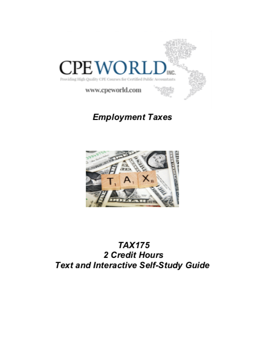 Employment Taxes - 2 Credit Hours (TAX175)