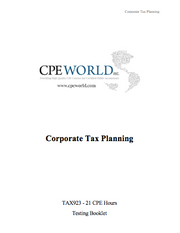 Corporate Tax Planning - 21 CPE Hours (TAX923)