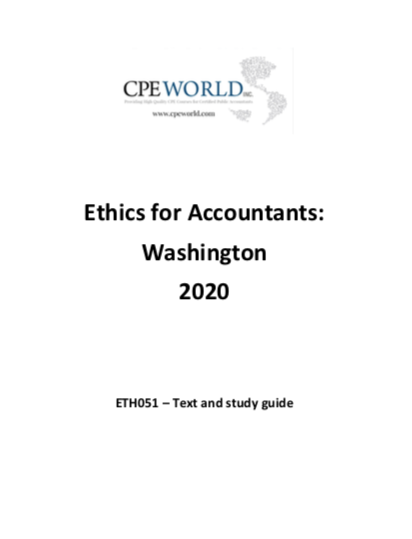 Ethics for Accountants: Washington 2020 (ETH051) - 4 CPE Hours
