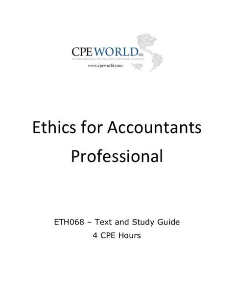Ethics for Accountants Professional - 4 CPE Hours (ETH068)