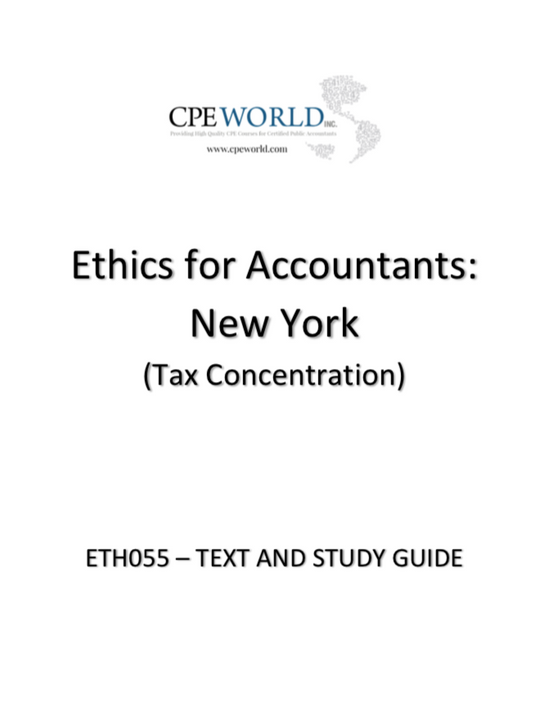 Ethics for Accountants: New York - Tax Concentration - 4 CPE Hours (ETH055)