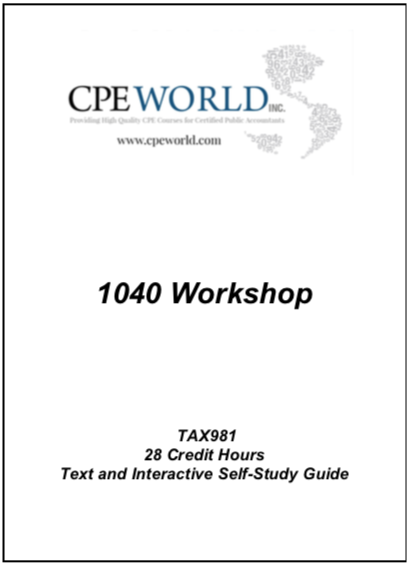 1040 Workshop - 28 Credit Hours (TAX981)