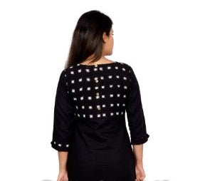 Black with Double Ikat Yoke - Kapaas N Resham