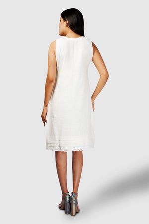 White Khadi Laced Dress - Kapaas N Resham