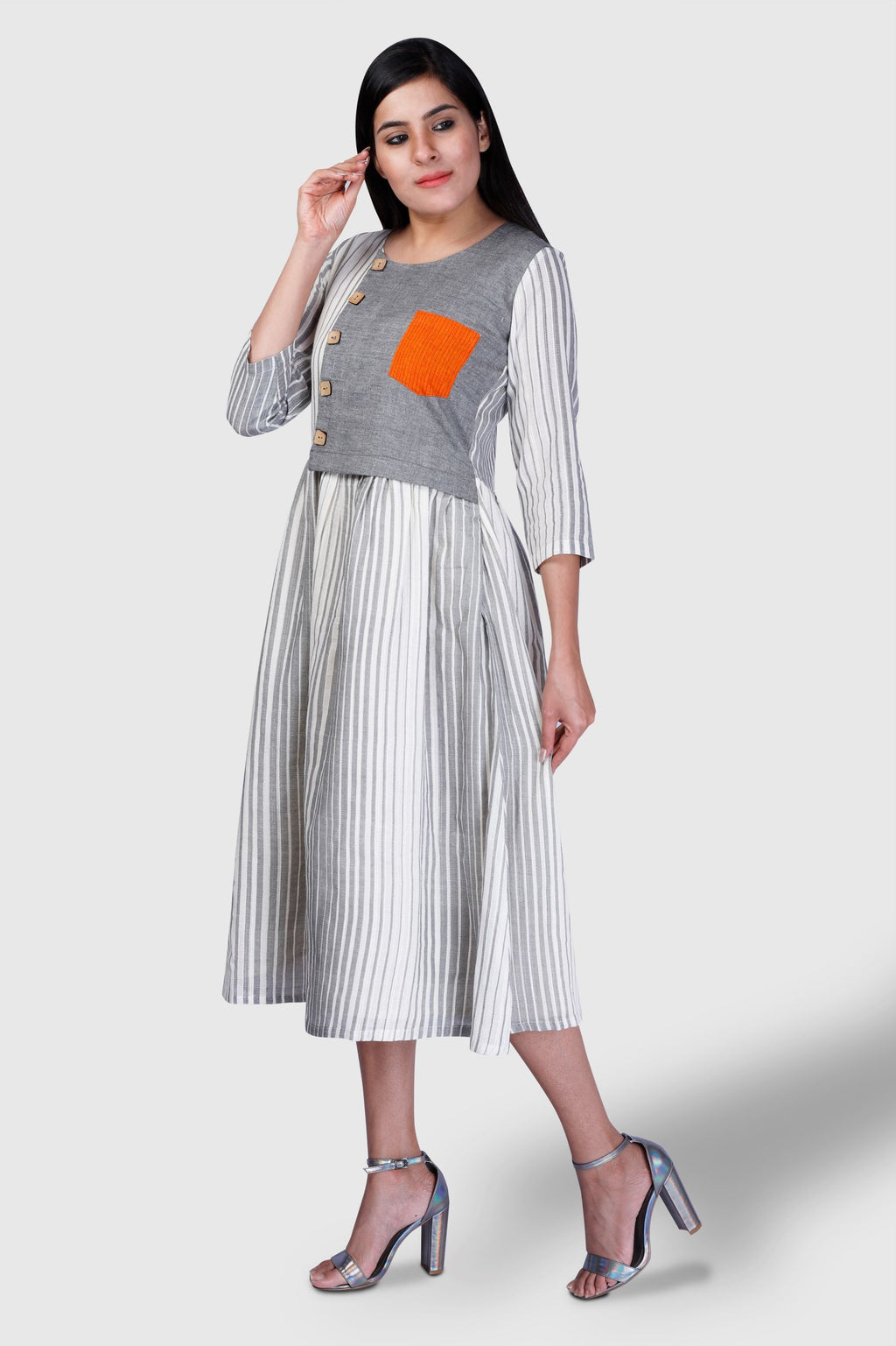 Grey Striped Half Yoked Dress - Kapaas N Resham