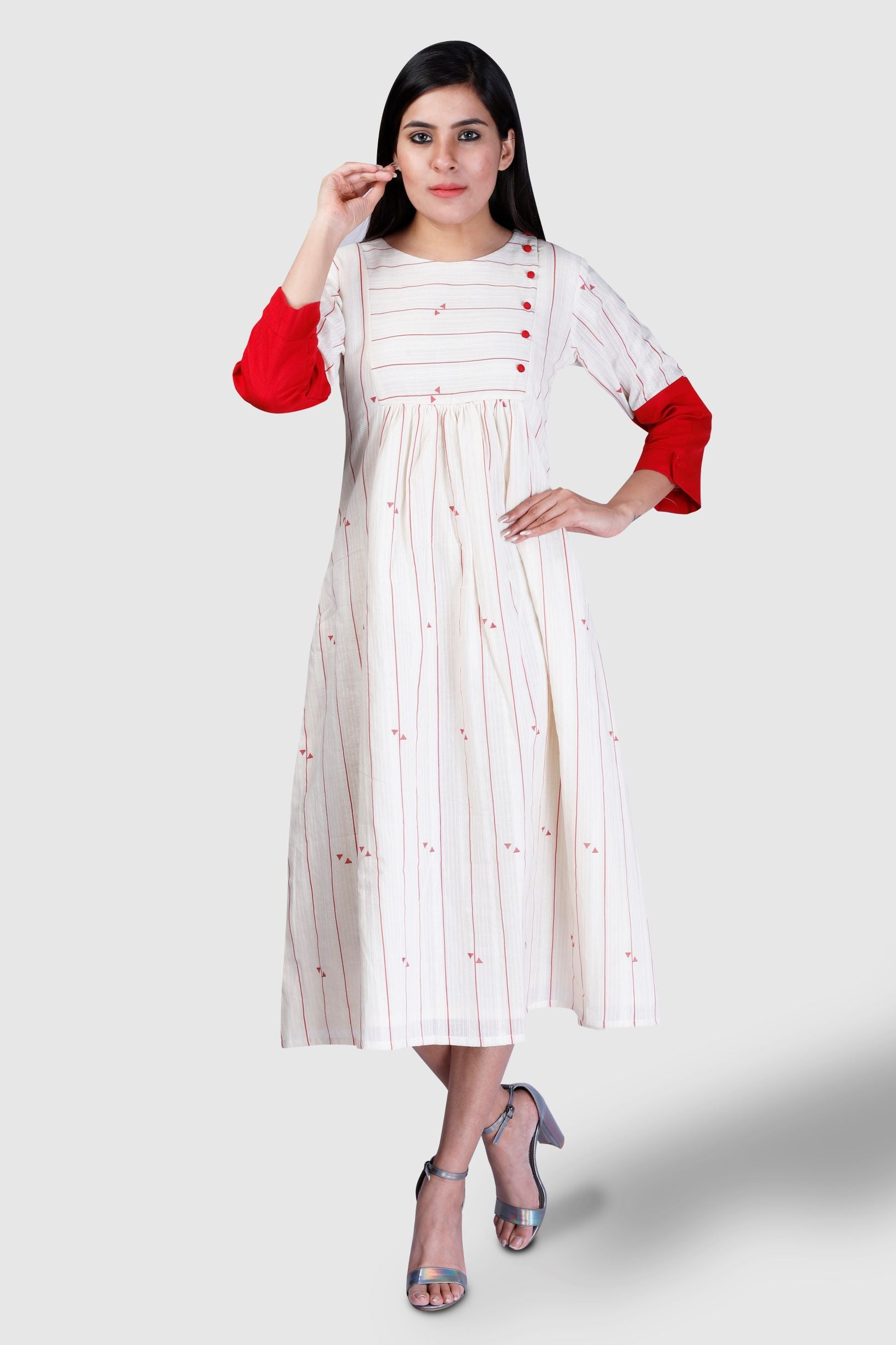 Red Buta Pleated Dress - Kapaas N Resham