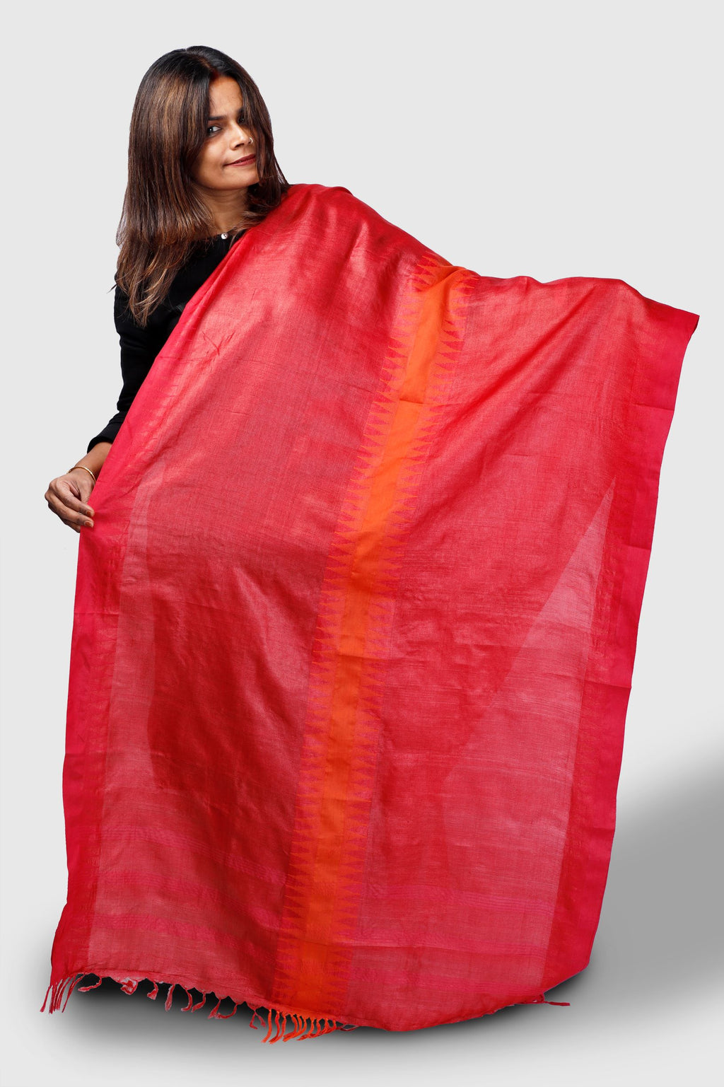 Tomato Red with Orange Temple Border Tassar - Kapaas N Resham