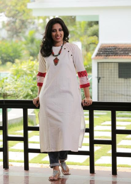 White Khadi Kurta with Red Cuff - Kapaas N Resham
