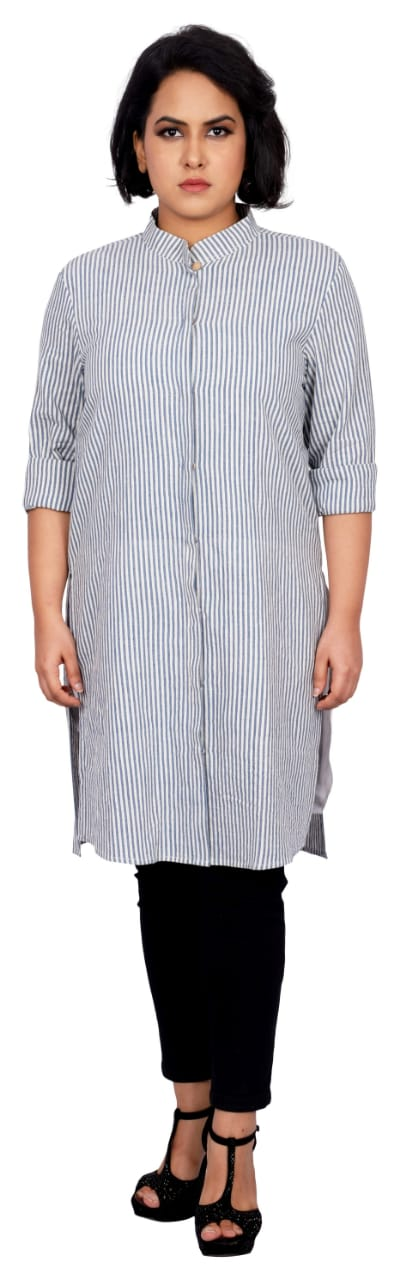 Striped Khadi jacket cum tunic - Kapaas N Resham