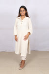 Off-white plain Kotpad Collared Kurta - Kapaas N Resham