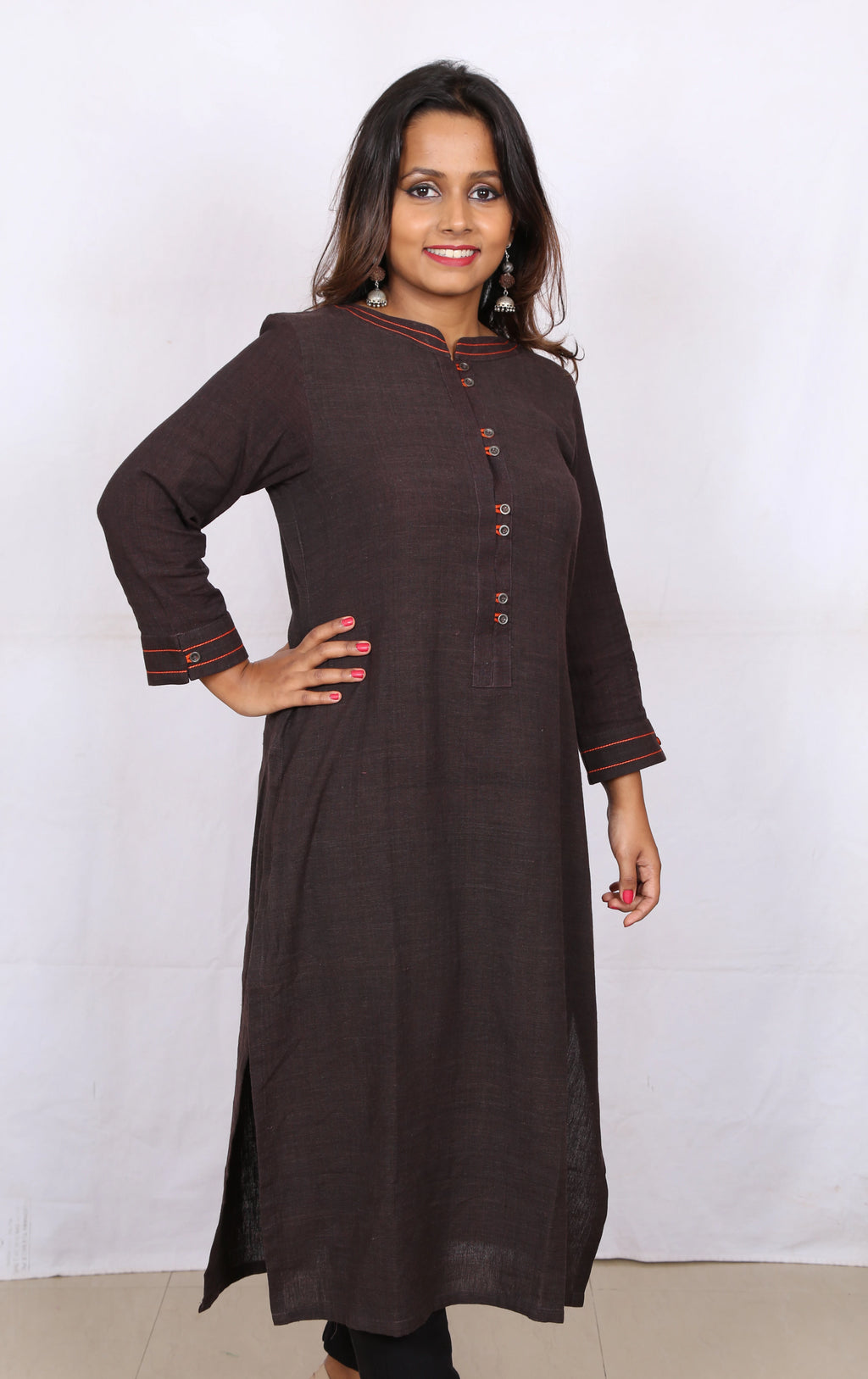 Chocolate Brown Embroidered Kotpad Kurta - Kapaas N Resham