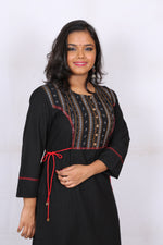 Black with Sambhalpuri Yoke Kurta - Kapaas N Resham