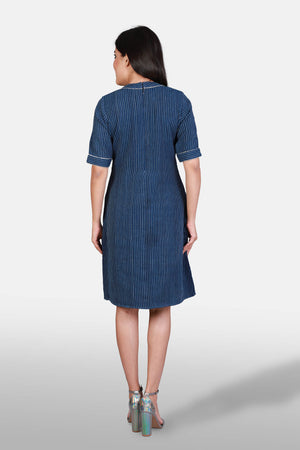 Striped Khadi Indigo Dress - Kapaas N Resham