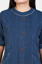 Striped Khadi Indigo Dress