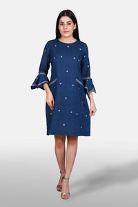 Rumal Sleeved Indigo Dress - Kapaas N Resham