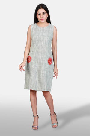 Khadi and Jamdani Reversible Dress - Kapaas N Resham