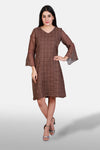 Checkered Linen Dress - Kapaas N Resham
