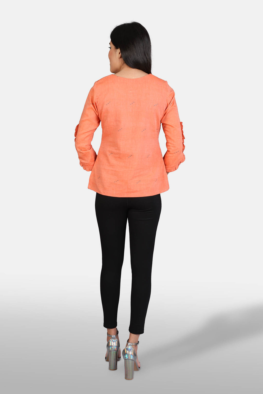 Orange Muslin Jamdani Top - Kapaas N Resham