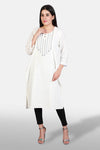 Khadi Embroidered Kurta - White - Kapaas N Resham