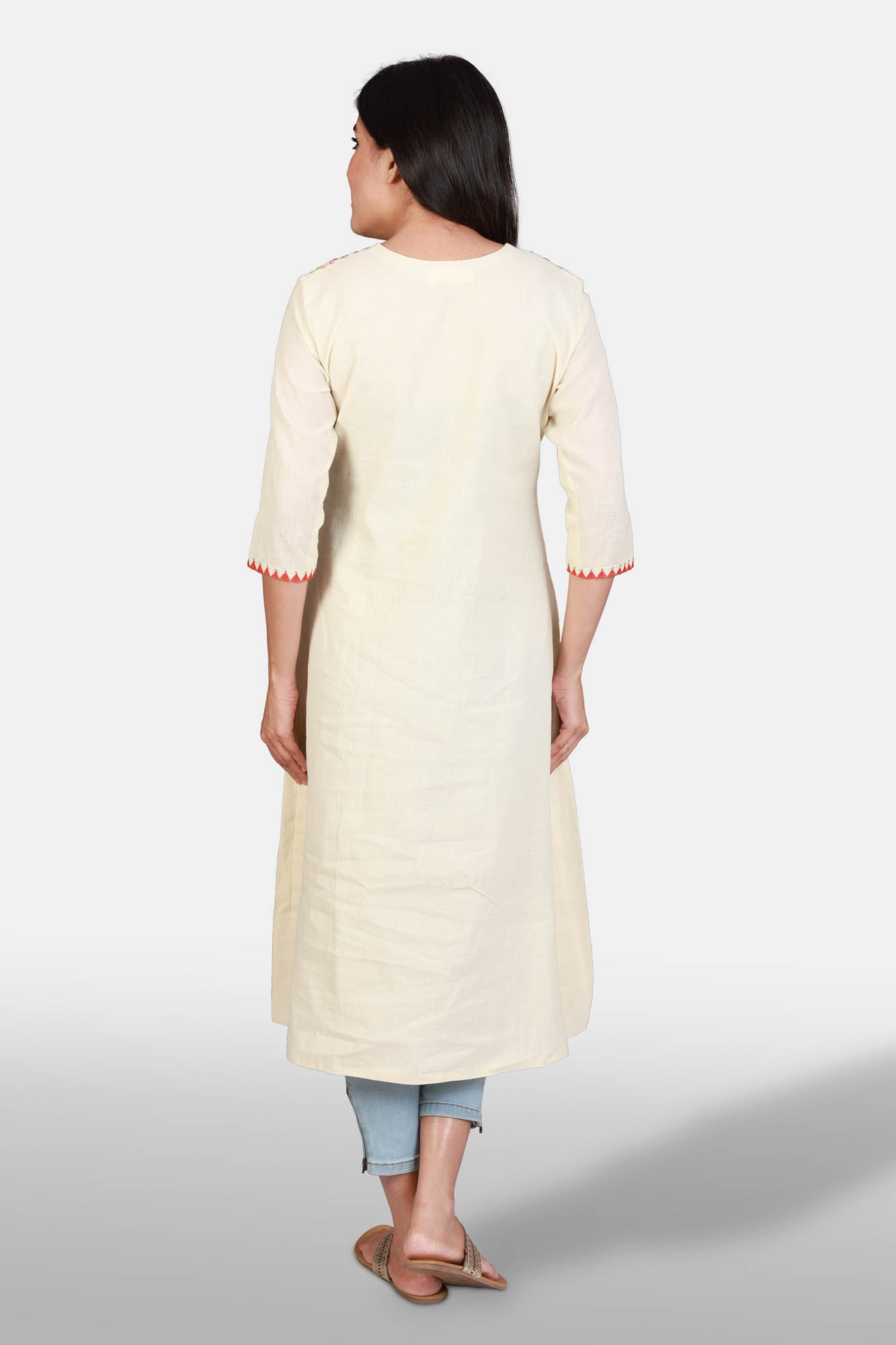 Khadi and block print embroidered kurta - Off-white - Kapaas N Resham