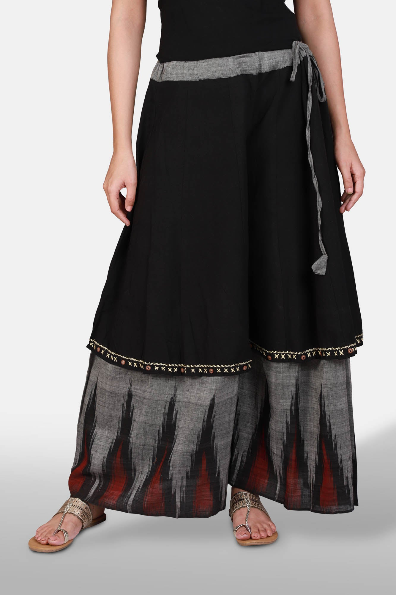 Layered black and grey ikat pallazzo - Kapaas N Resham