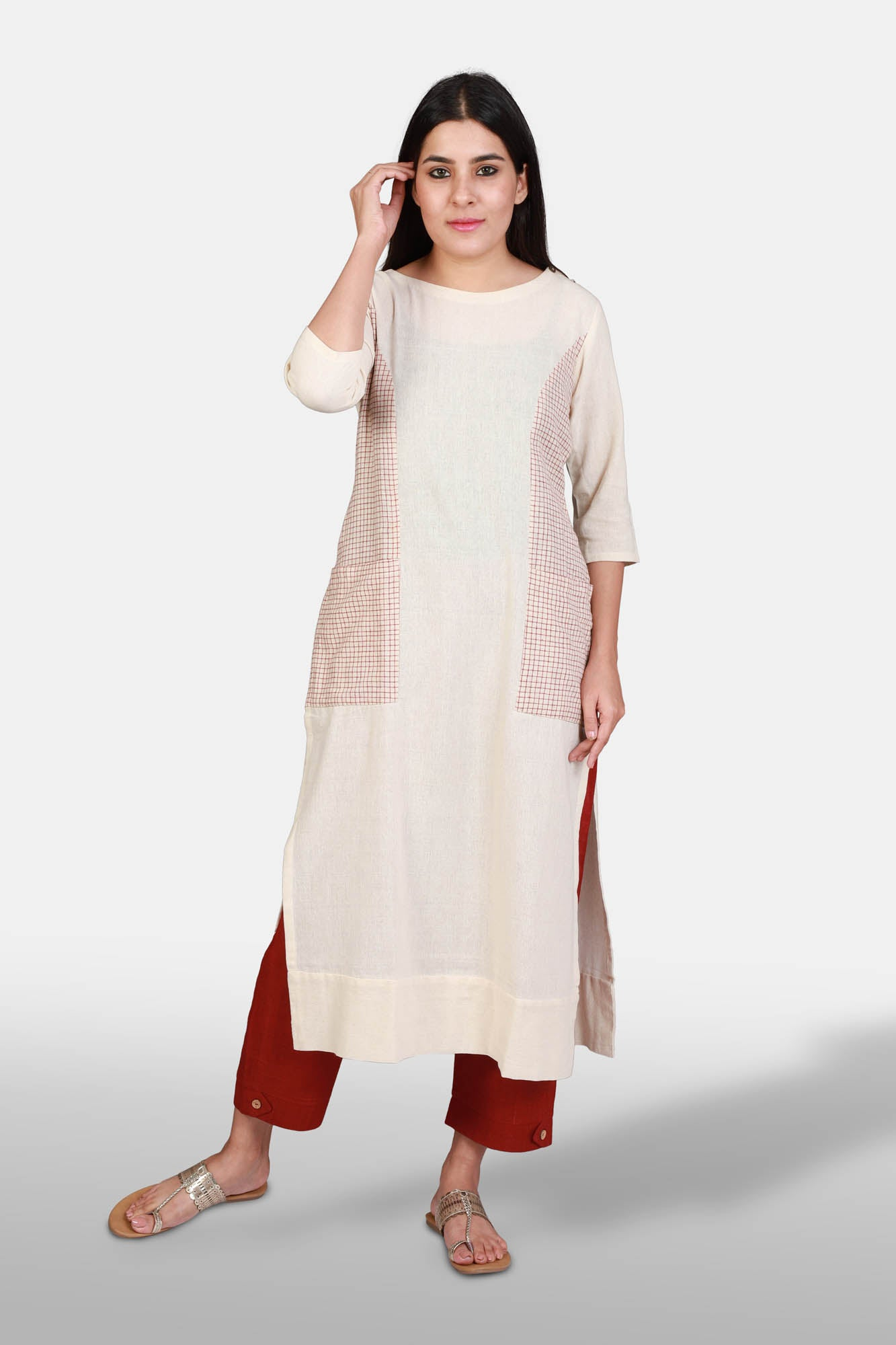 Off-white kotpad princess cut kurta - Kapaas N Resham