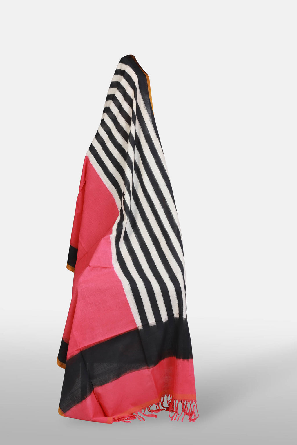 Striped And Pink Half n half Ikat dupatta - Kapaas N Resham