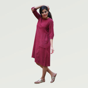 Maroon Kotpad A-line Embroidered Dress