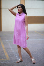 Lavender Pink Shawl Collar Dress