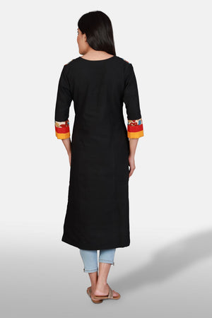 Black Double Princess Kurta - Kapaas N Resham
