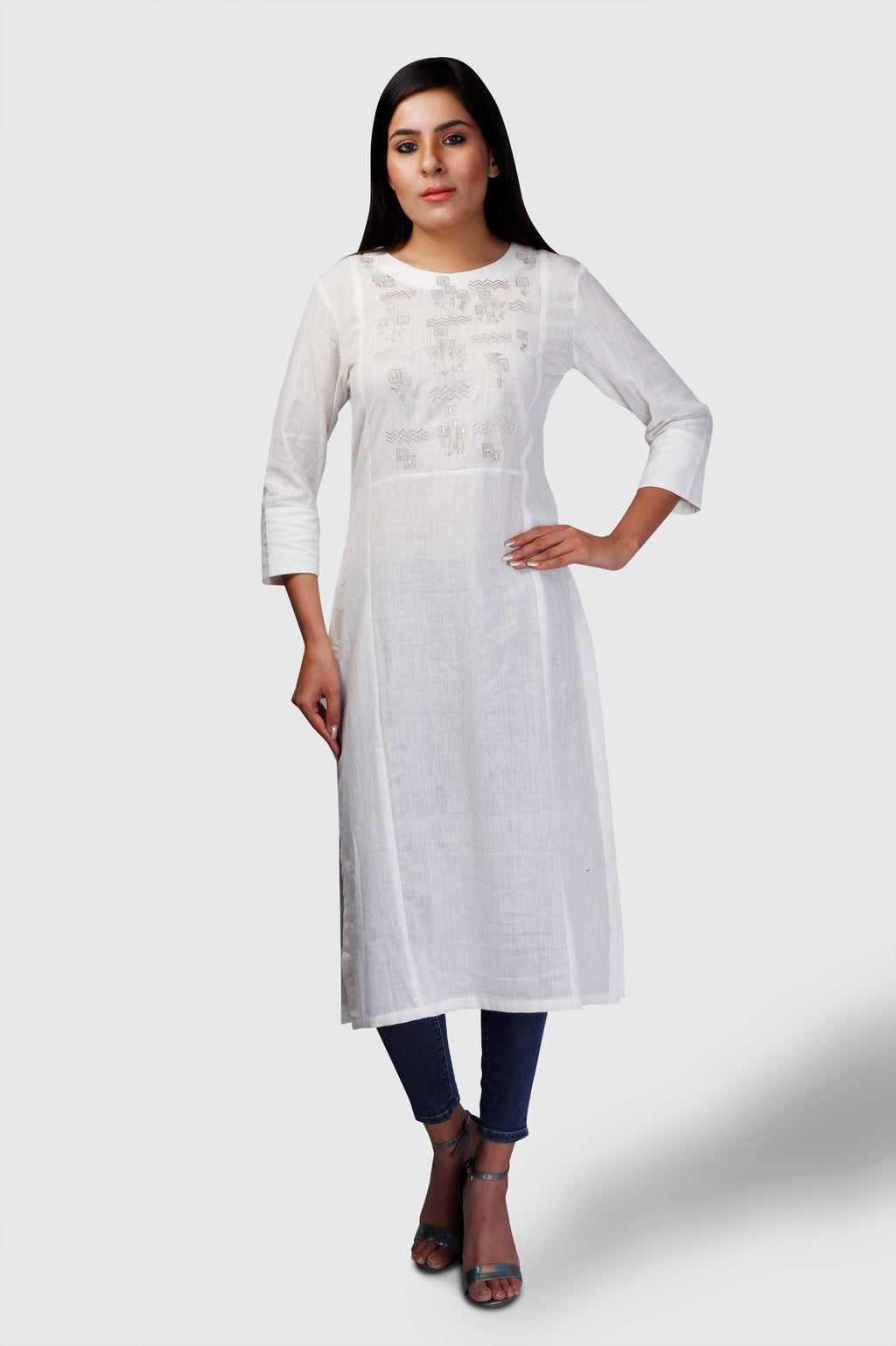 White Soft khadi with Silver embroidey Kurta - Kapaas N Resham