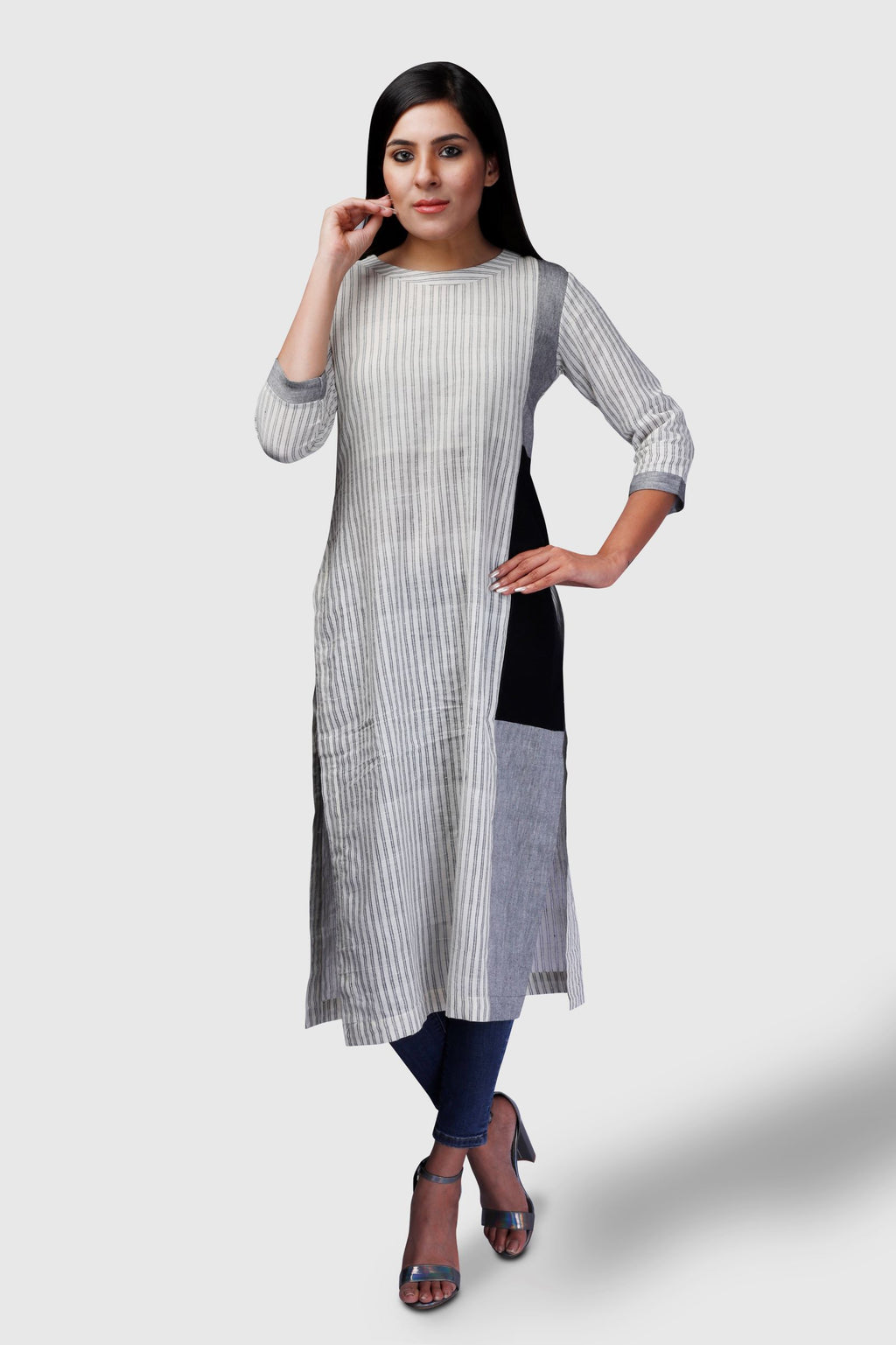 Striped Khadi Tri Colour Patch Kurta - Kapaas N Resham