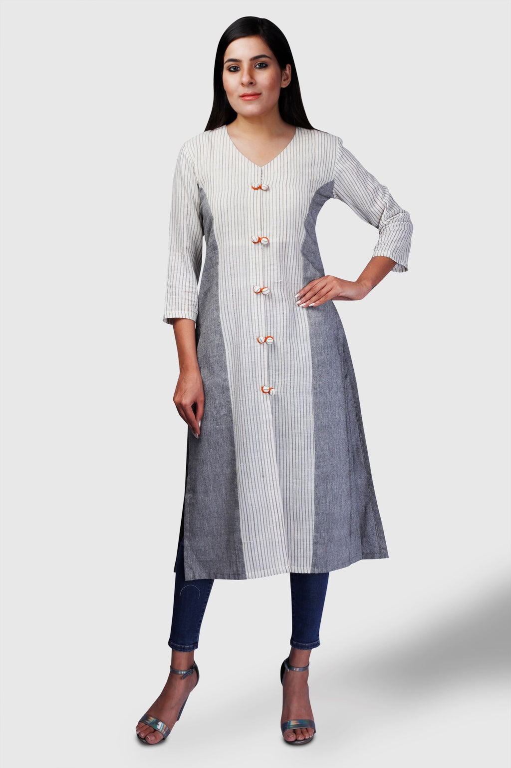 Striped Grey Khadi Kurta - Kapaas N Resham