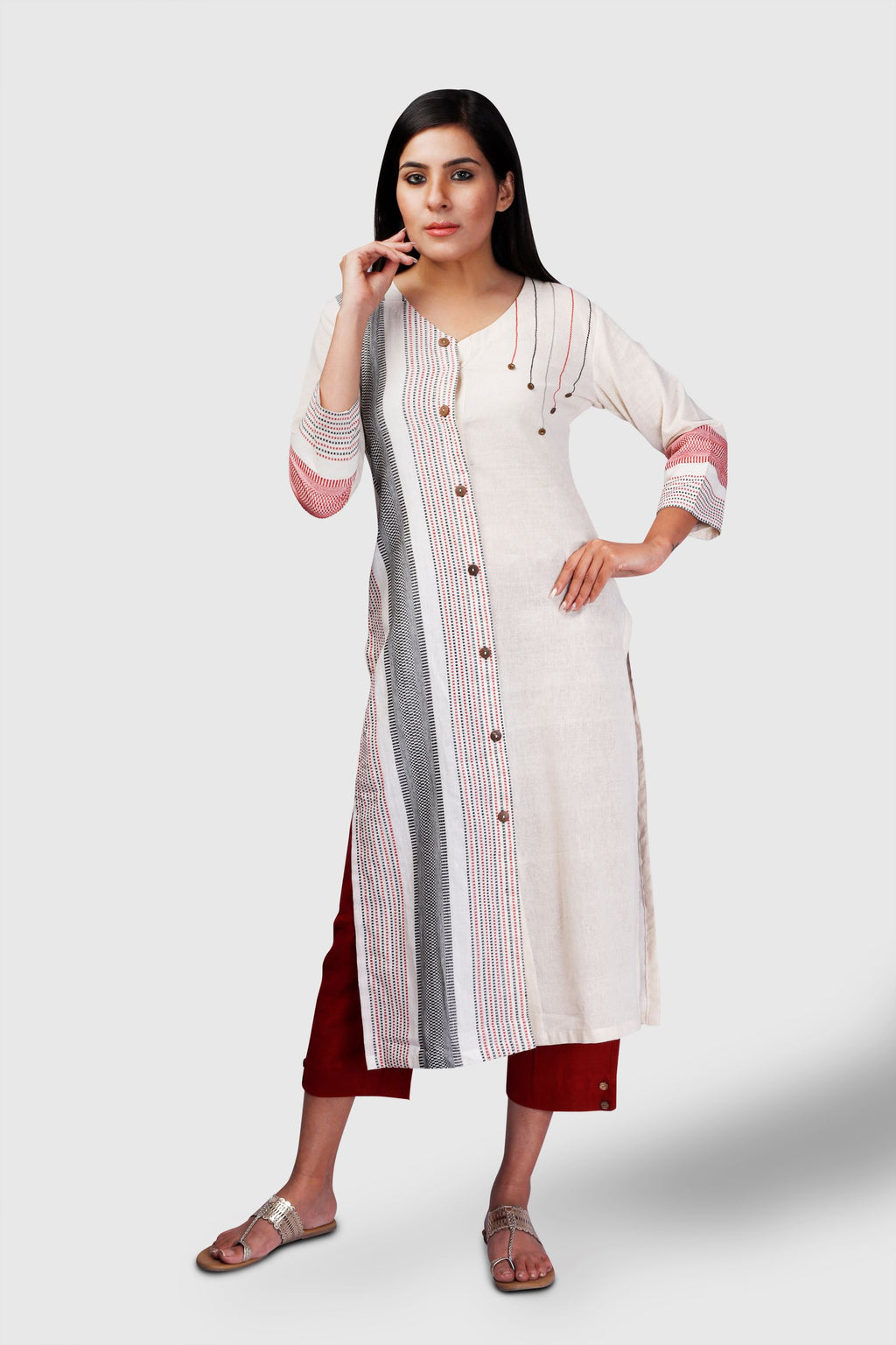 Off-White Kotpad Button embroidery Kurta - Kapaas N Resham