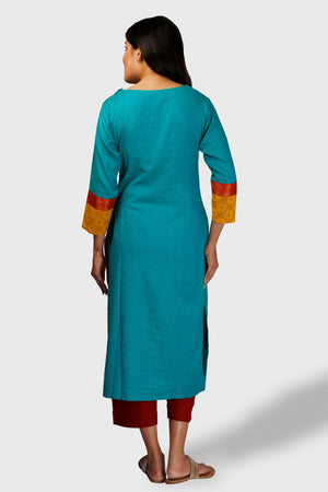 Peacock Blue Single Princess Kurta - Kapaas N Resham