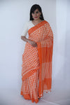 Gheecha Tassars Saree - Orange Border - Kapaas N Resham