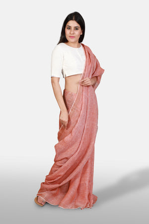 Linen Saree - Orange-Peach - Kapaas N Resham